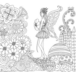 Hand drawn fairy walking in the flowers land for coloring book for adult