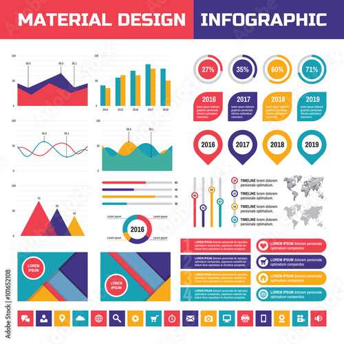 Business infographic vector set in material design style business business infographic vector set in material design style business infographics elements infographic in flat gumiabroncs Images