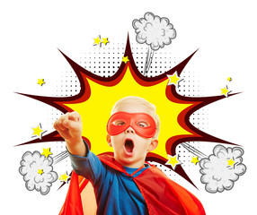 Kind als Superheld mit Comic Knall