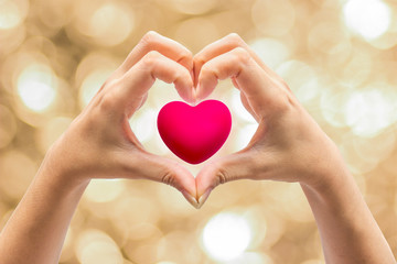 Pink Heart in hands on nature background