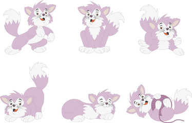 Pink cartoon kitten. Cute playful cat.