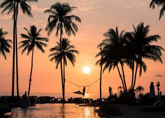 Amazing sunset on the palm trees tropical coast.