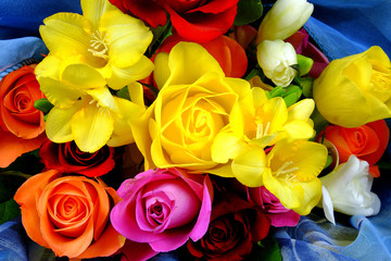 Bouquet of different flowers on a blue background
