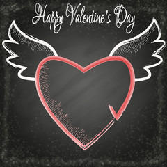 Happy Valentine's Day. Romantic black, grunge, chalkboard background with coral heart and white text. Lettering.