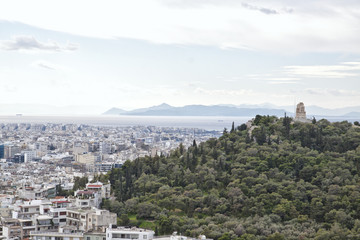 View from the Acropolis  to the Saronic Gulf and port Piraeus. Greece