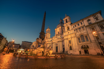 Wall Mural - Rome, Italy: Piazza Navona in the sunrise