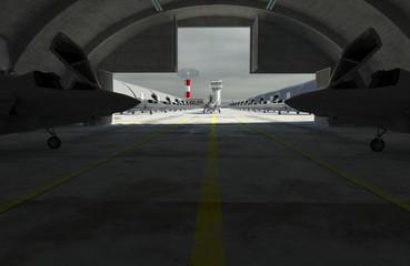 F 35 , american military fighter plane. Military base, hangar, bunker