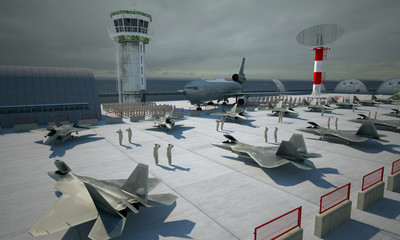 F 22 raptor , american military fighter plane. Military base, hangar, bunker