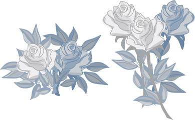Vector set of roses in cartoon style.