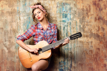 pin-up and guitar