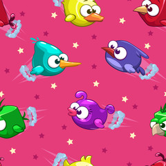 Seamless pattern with funny cartoon birds