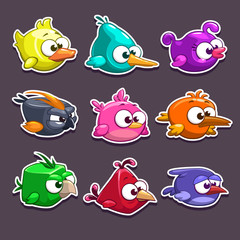 Funny cartoon birds stickers