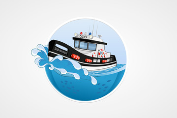 Moving speed police boat. Deep sea with wave. Round vector computer icons for applications or games. Logo template. Handdrawn Illustration.