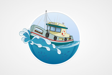 Moving fishing boat. Deep sea with wave. Round vector computer icons for applications or games. Logo and emblem template. Handdrawn Illustration.