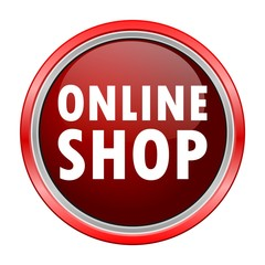 Online Shop round metallic red button
