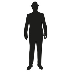 Business man in hat, standing vector silhouette
