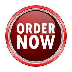 Order Now round metallic red button