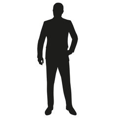 Man in suit, isolated vector silhouette