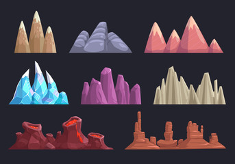 Cartoon rocks and mountains set