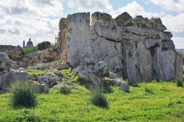 The Neolithic megalith temple complex of Ggantija (Tempji Neolitici Tal-Ggantija) on the island of Gozo in Malta    Wall mural
