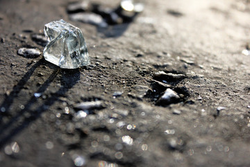 PIECES OF GLASS ON A GRAY PAVEMENT