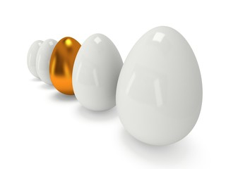 Golden egg in a row of the white eggs