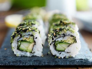 kale, avocado and cucumber sushi