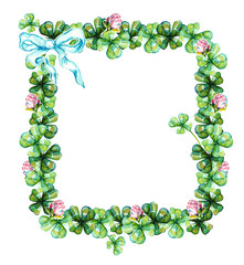 Beautiful frame with clover and white bow