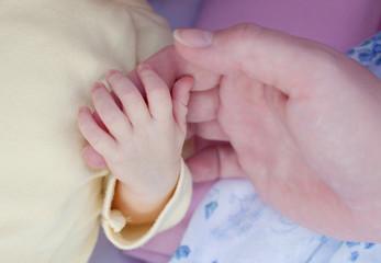 Newborn baby hand in mother hand