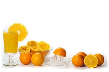 fresh orange juice and orange on  white background