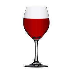 Red wine in glass isolated on white, vector illustration