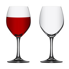 full and empty red wine glass, vector illustration