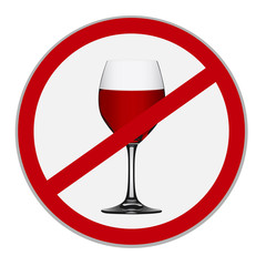 Alcohol is forbidden sign on white background