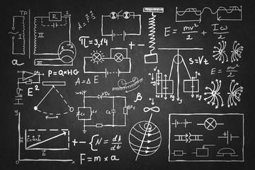 Physics formulas on board