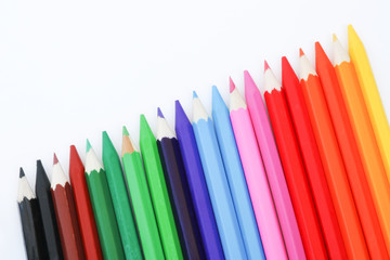 Crayon color on white background