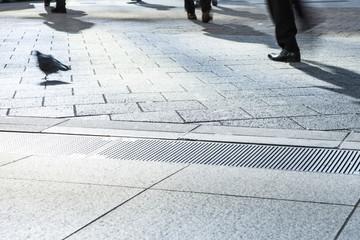 Feet of commuters