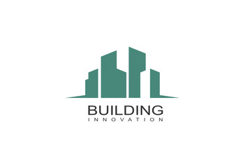 green building with eco concept logo