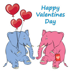 Illustration of a cheerful pink elephant with balloons in the form of heart. Valentine Card, Valentine Label. Vector Illustration EPS 8