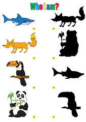illustration of animation silhouettes of animals for the children book of riddles