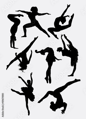 Dancing Show Man And Woman Pose Silhouette Good Use For Symbol