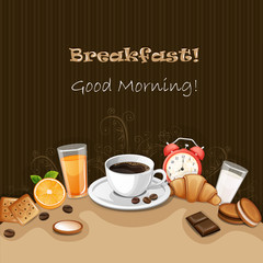 Breakfast background with coffee ,croissant,biscuits and cookies.