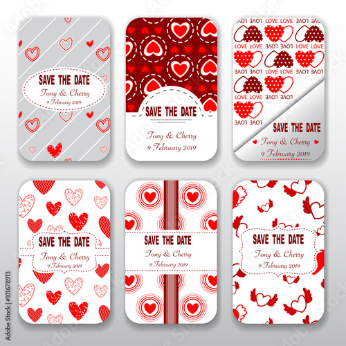 Set Of Valentine Day And Wedding Templates Card Collection Seamless
