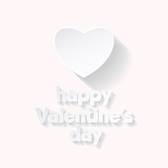 Minimalistic vector greeting card for St Valentine's Day with white heart and text