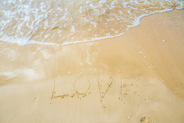 The inscription on the sand near the sea and the waves - I love you. Background.