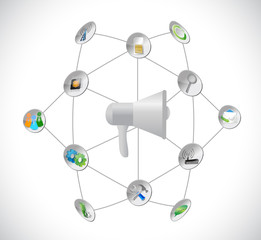 megaphone and tools network illustration