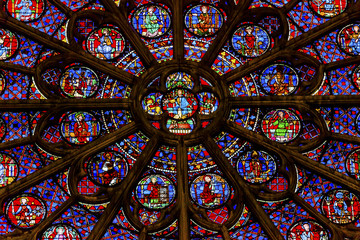 Rose Window Jesus Stained Glass Notre Dame Paris France