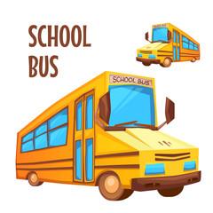 Vector illustration of school bus on white background