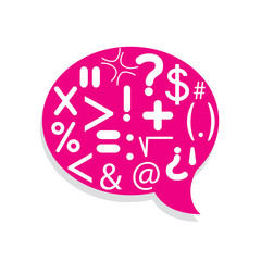 Speech Bubble to much marks with pink color background
