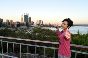 beautiful girl taking picture in a city, Perth