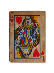 Very old playing card, Queen of hearts